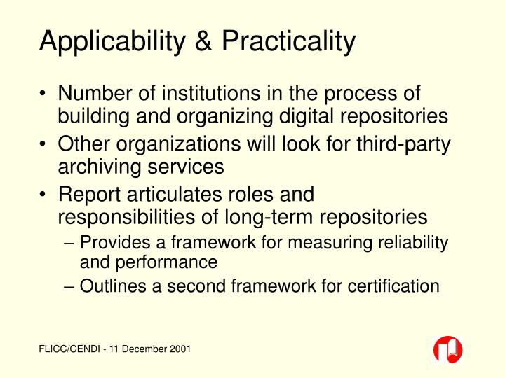 Applicability & Practicality
