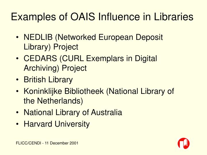Examples of OAIS Influence in Libraries
