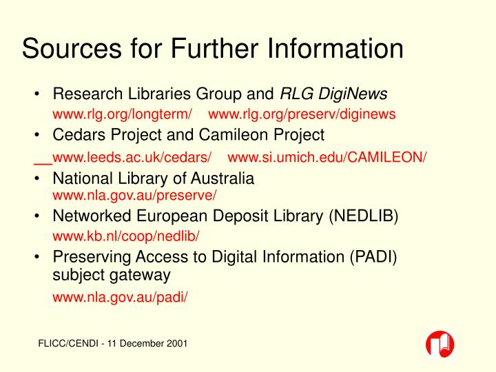 Sources for Further Information