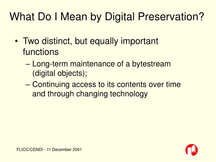 What Do I Mean by Digital Preservation?