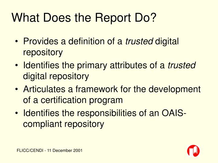 What Does the Report Do?