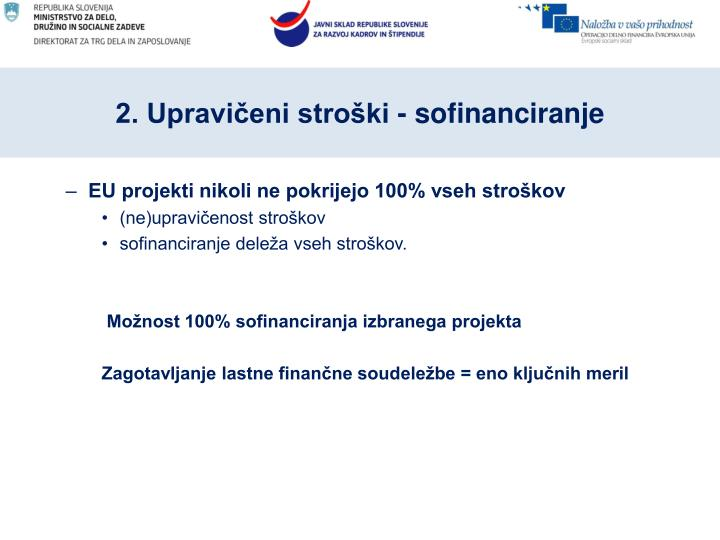 2. Upravičeni stroški - sofinanciranje