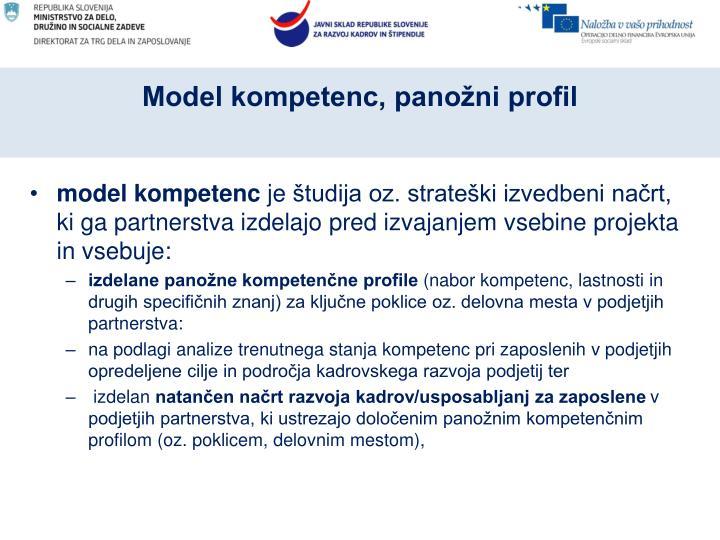 Model kompetenc, panožni profil