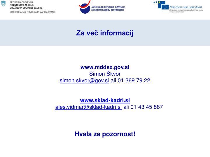 Za več informacij