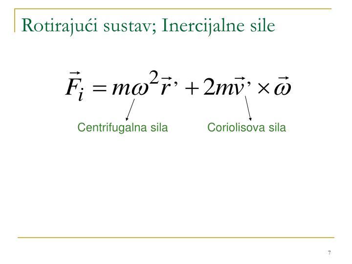 Rotirajući sustav; Inercijalne sile