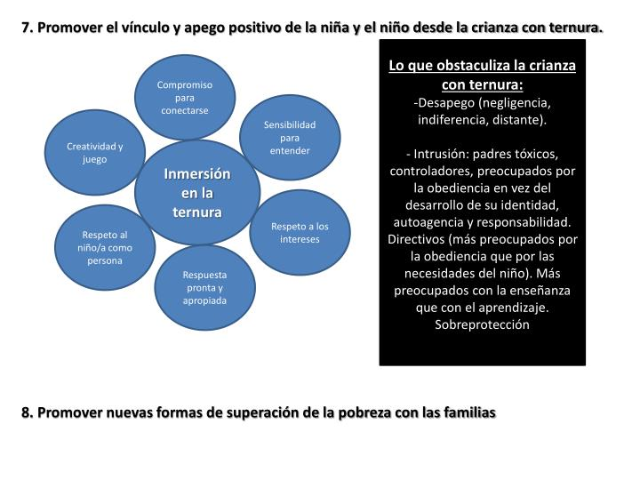 7. Promover el vínculo y apego positivo de la niña y el niño desde la crianza con ternura.