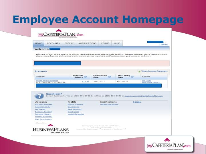 Employee Account Homepage