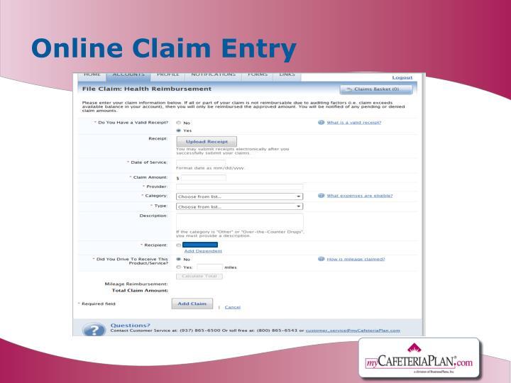 Online Claim Entry