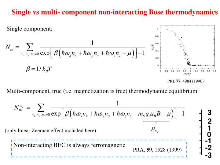 Single vs multi- component non-interacting Bose thermodynamics