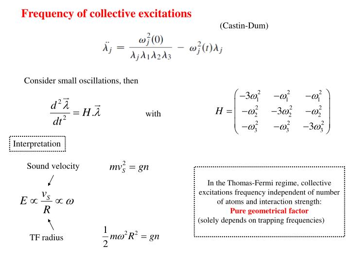 Frequency of collective excitations