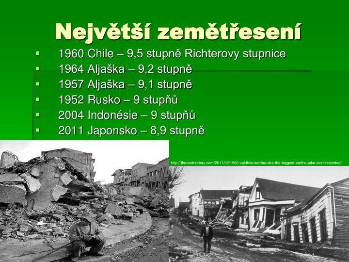 Největší zemětřesení