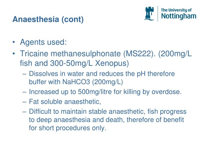 Anaesthesia (cont)