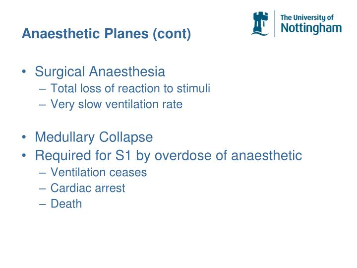 Anaesthetic Planes (cont)