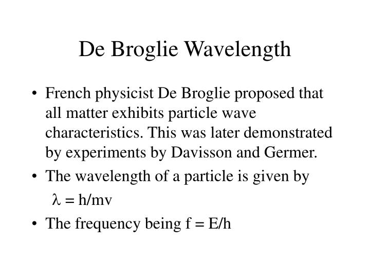 De Broglie Wavelength