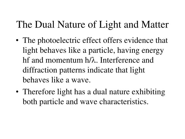 The Dual Nature of Light and Matter