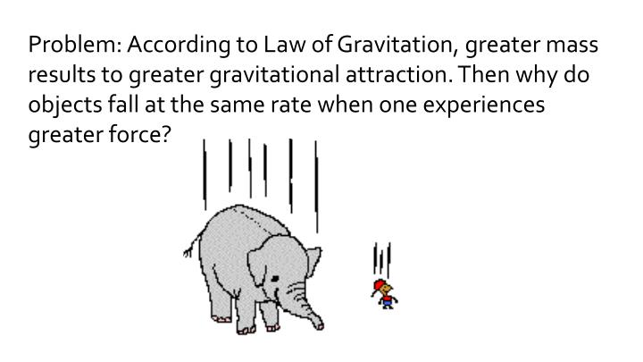 Problem: According to Law of Gravitation, greater mass results to greater gravitational attraction. Then why do objects fall at the same rate when one experiences greater force?