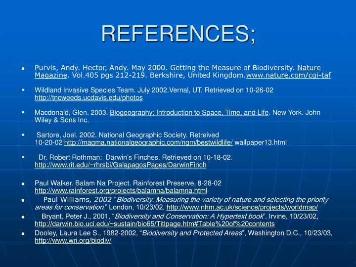 REFERENCES;