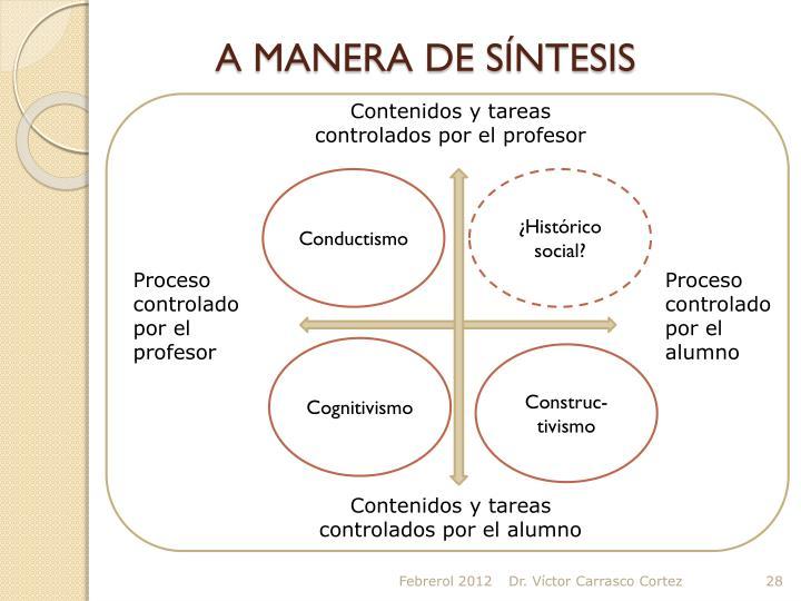 A MANERA DE SÍNTESIS