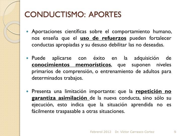 CONDUCTISMO:  APORTES
