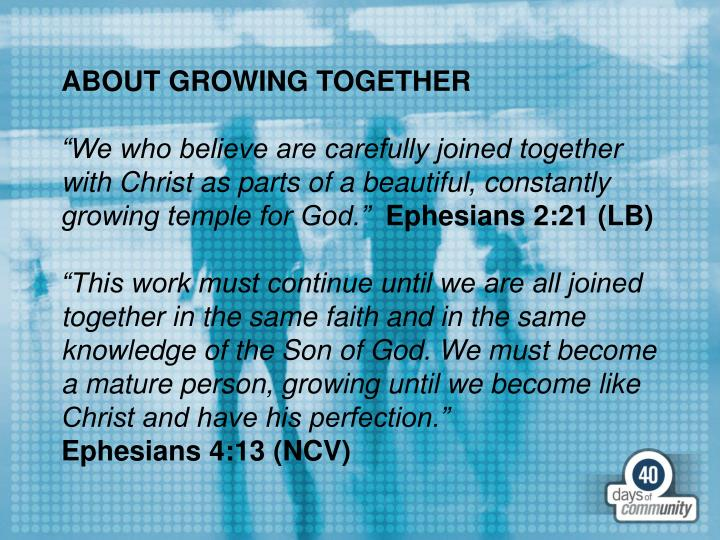 ABOUT GROWING TOGETHER
