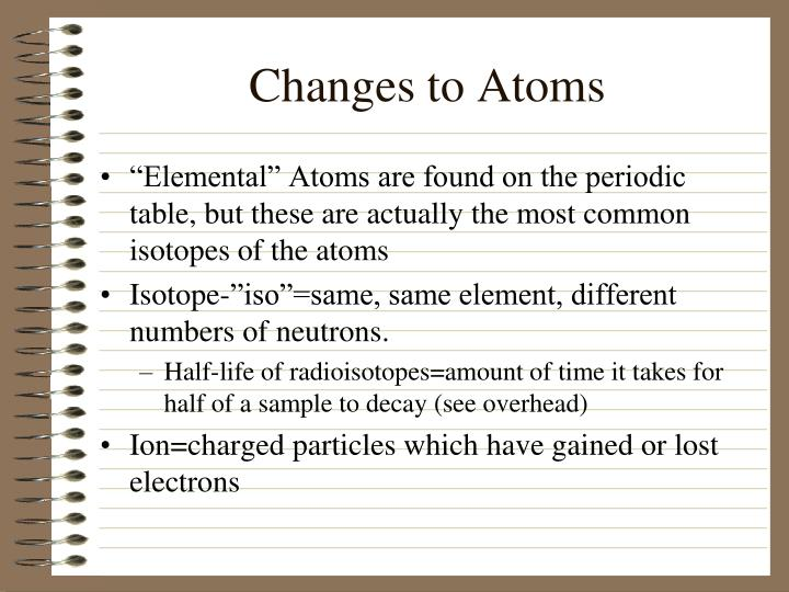 Changes to Atoms