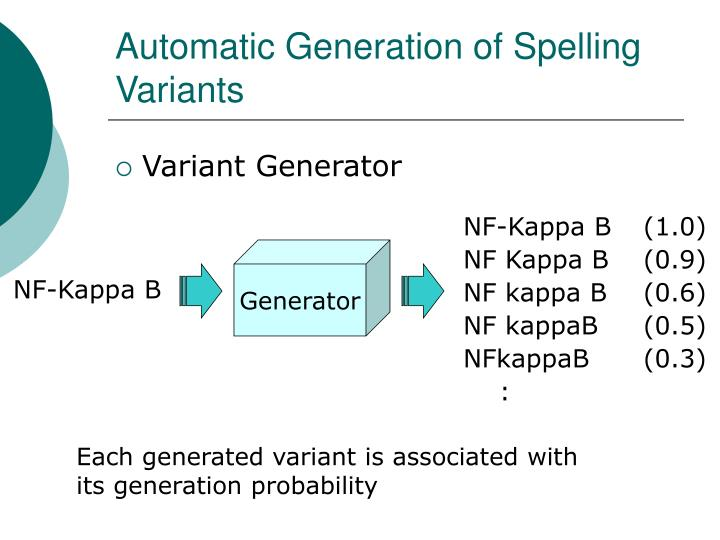 Automatic Generation of Spelling Variants