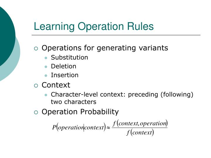Learning Operation Rules