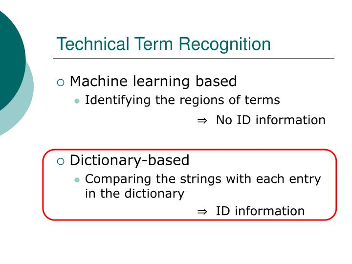 Technical Term Recognition