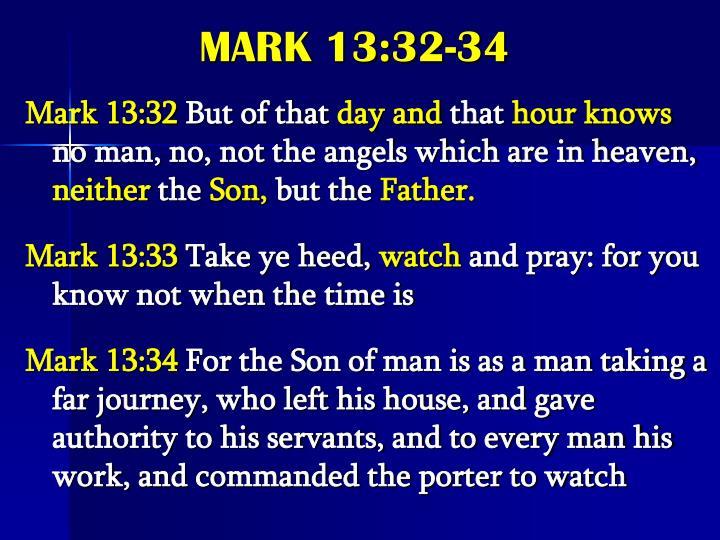 MARK 13:32-34