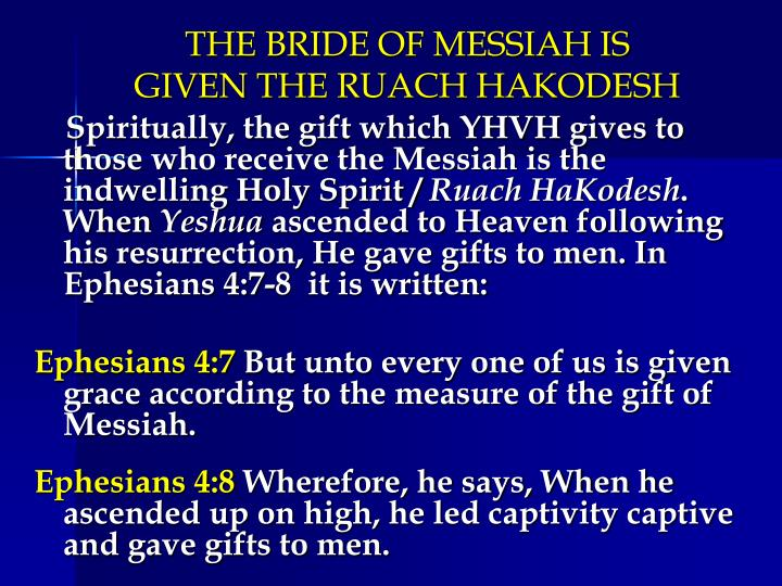 THE BRIDE OF MESSIAH IS