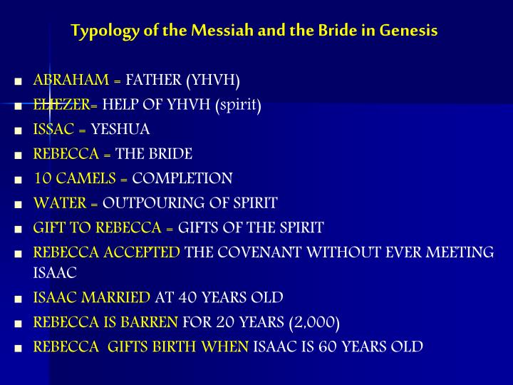 Typology of the Messiah and the Bride in Genesis