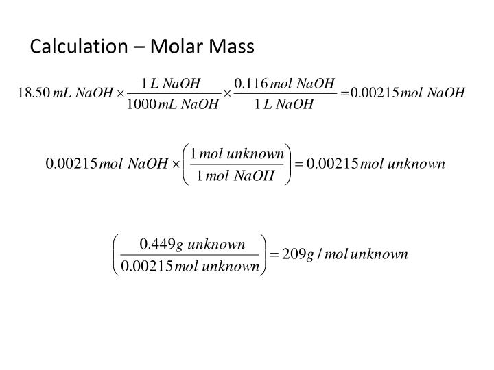 Calculation – Molar Mass