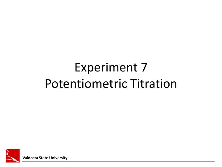 Experiment 7 potentiometric titration