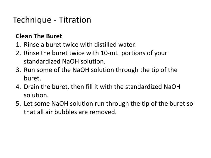 Technique - Titration