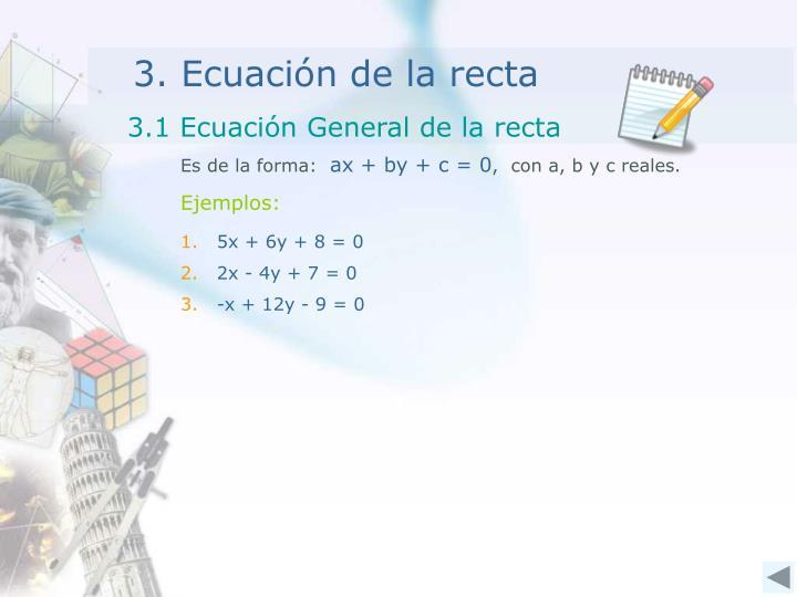 3.1 Ecuación General de la recta
