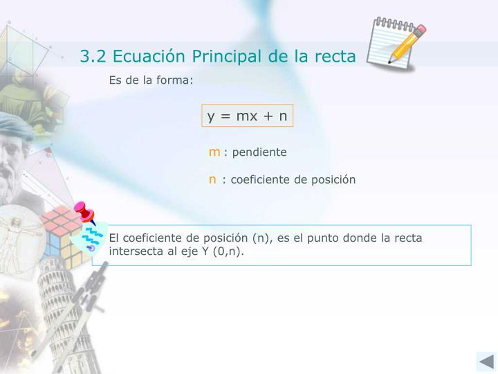 3.2 Ecuación Principal de la recta