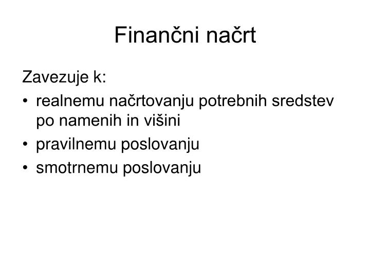 Finančni načrt