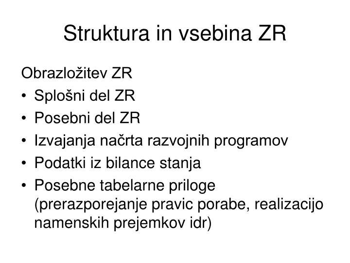 Struktura in vsebina ZR