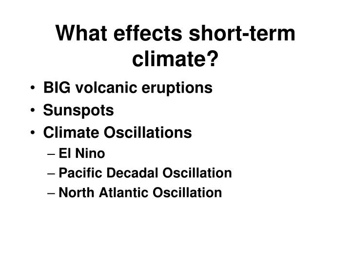 What effects short-term climate?