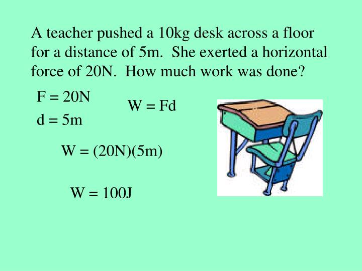 A teacher pushed a 10kg desk across a floor for a distance of 5m.  She exerted a horizontal force of 20N.  How much work was done?