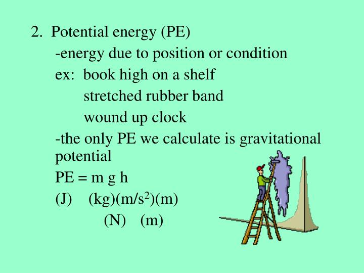 2.  Potential energy (PE)