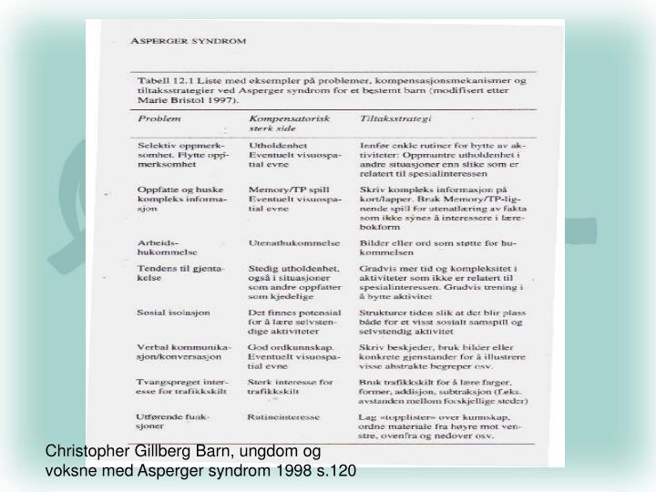 Christopher Gillberg Barn, ungdom og voksne med Asperger syndrom 1998 s.120