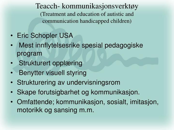 Teacch- kommunikasjonsverktøy