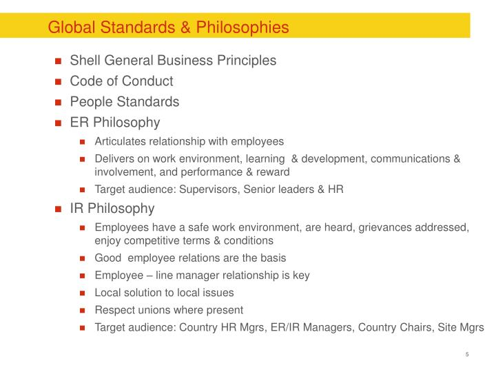 Global Standards & Philosophies