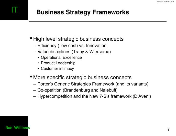 Business strategy frameworks