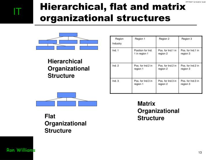 Hierarchical, flat and matrix