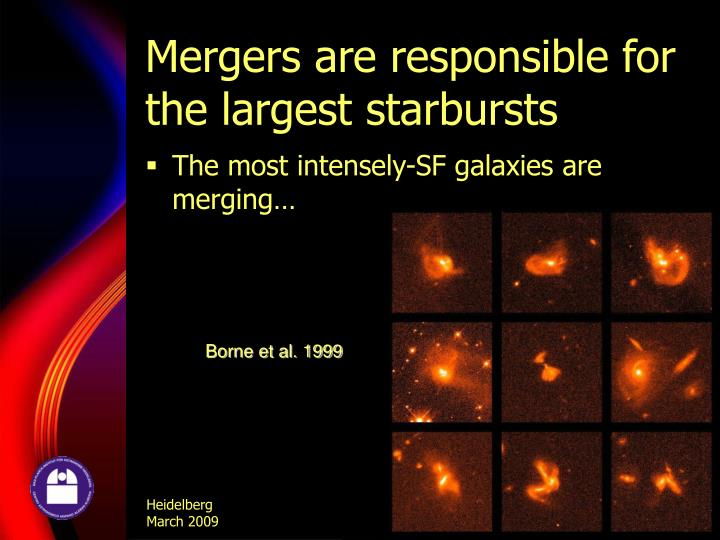 Mergers are responsible for the largest starbursts