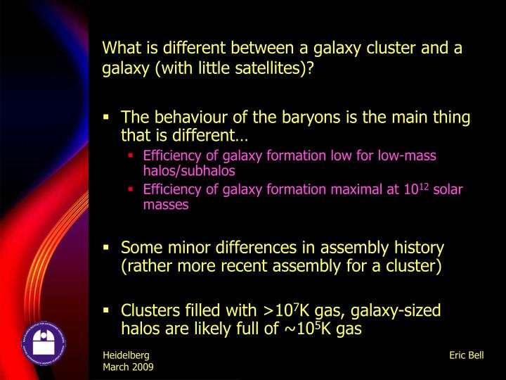 What is different between a galaxy cluster and a galaxy (with little satellites)?