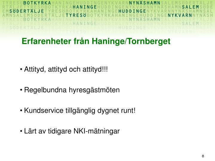 Erfarenheter från Haninge/Tornberget