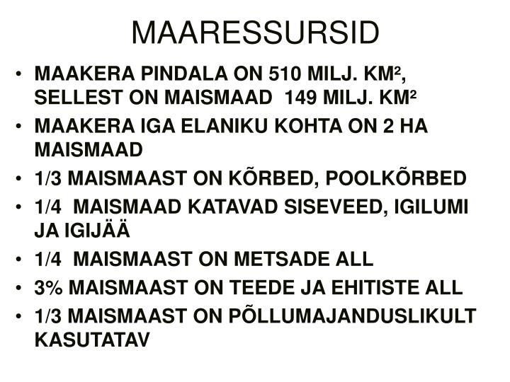 MAARESSURSID